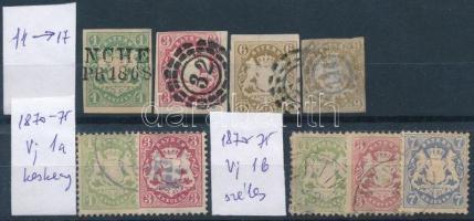 Bajorország 1867 + 1870-1875 9 db klasszikus bélyeg (Mi EUR 140,-)