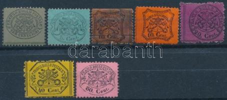 Egyházi állam 7 klf bélyeg, közte újmyomat