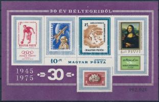 1975 30 év bélyegeiből vágott blokk (4.000)