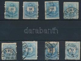 1874-1881 8 db 10kr vésés- ill. gyöngyjavítással