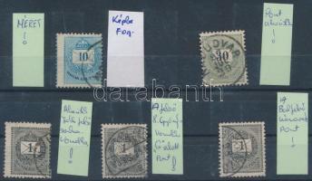 1881-1889 5 db krajcáros bélyeg lemezhibákkal (karc, kitörés, vonalka)
