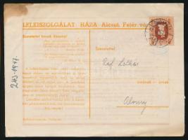 18 db Küldemény Forint-fillér bélyegekkel