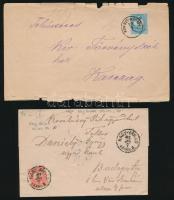 5 db levél Színes- és Feketeszámú 5kr, 1 db Színesszámú 10kr bérmentesítéssel