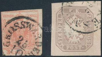 1850 3kr GROSSWARDEIN + 1863 Hírlap (elvékonyodás) KÉSMÁR(K)