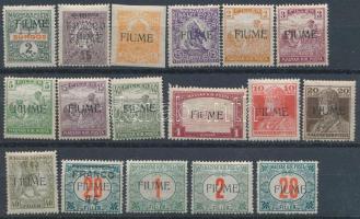 Kis megszállási tétel, 17 db bélyeg stecklapon