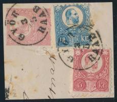 1871 Réznyomat 5kr díjjegyes kivágás 5kr és 10kr díjkiegészítéssel kivágáson GYŐR / RAAB