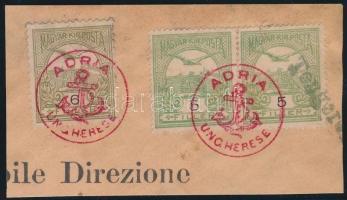 1906 Turul 2 x 5f + 6f kivágáson piros ADRIA / UNGHERESE bélyegzéssel