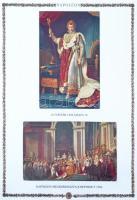 Egyenruhák, Napóleon motívum gyűjtemény hagyatékból 8 berakóban, albumban közte szép kiállítási gyűjtemény, ritka kiadások, érdekességek továbbá Napóleon képeslapgyűjtemény albumban. Terjedelmes, tartalmas, magas katalógus értékű, látványos anyag!!