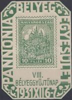 1931/2b VIII. Bélyeggyűjtőnap emlékív zöld színben (10.000) nagyon ritka!