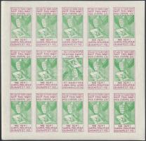 ~1930 Szakirodalomban ismeretlen Gamma Philatelia szép bélyegzést propagáló FOGAZATLAN emlék kisív zöld színben, borvörös szöveggel, közepén fordított bélyeg