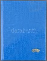 LINDNER A4-es, 15 fehér lapos, 9 soros berakó kék kígyóbőr borítóval