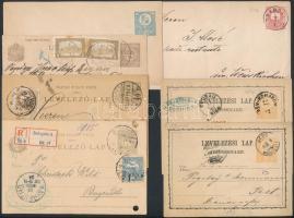 1871-1921 7 db postai díjjegyes küldemény, közte ritkábbak, mozgóposták, osztrák portó, ajánlott stb.