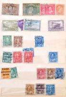 Kanada és Dél-Amerika összeállítás 12 lapos közepes berakóban + Belgium és Ausztria összeállítás 8 lapos közepes berakóban + 12 lapos A4-es berakó néhány száz magyar bélyeggel dobozban