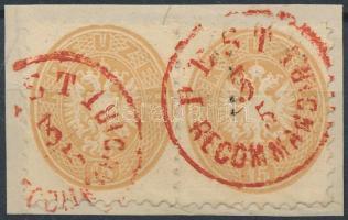 1864 2 db 15kr egy kivágáson piros PEST / RECOMMANDIRT bélyegzéssel R!