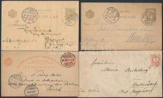 4 klf díjjegyes küldemény, közte Millenniumi lap, UPU 5kr az 1880-as, 1890-es évekből