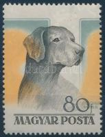 1956 Magyarországi kutyafajták 80f 14 mm-rel balra tolódott barna és kék színnyomat, ritka luxus darab RRR!