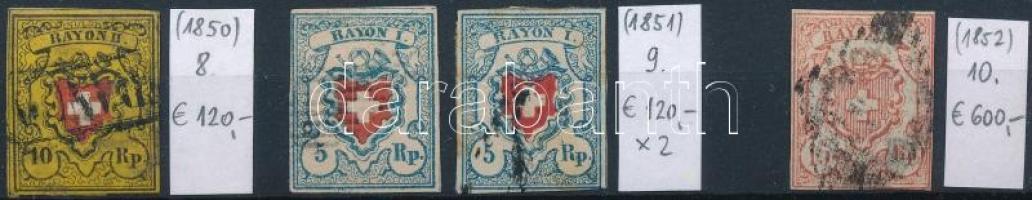 1850-1852 Klasszikus összeállítás, 4 db bélyeg (Mi EUR 960,-)