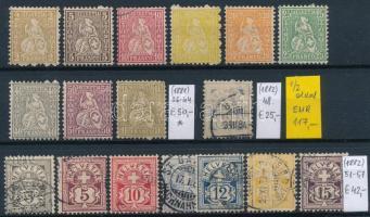 1881-1899 Klasszikus összeállítás, 39 db bélyeg 2 stecklapon (Mi EUR 344,-)
