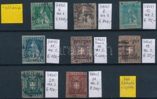 Toszkána 1851-1860 Klasszikus összeállítás, 8 db bélyeg (Mi EUR 1.380,-)