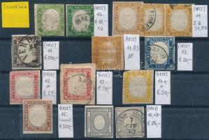 Szardínia 1855-1861 Klasszikus összeállítás, 14 db bélyeg (Mi EUR 844,-)