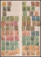 Románia összeállítás benne túlélő bélyegzések, próbanyomatok, festékhiányos bélyegek nagyalakú berakólapon