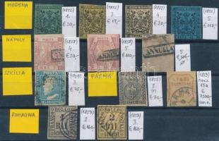 Modena, Nápoly, Szicília, Párma, Romagna 1852-1859 Klasszikus összeállítás, 12 db bélyeg (Mi EUR 8.282,-)