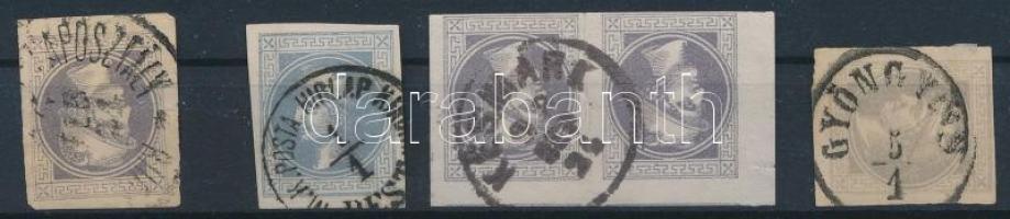1867 5 db Hírlapbélyeg közte pár magyar érkezési bélyegzésekkel