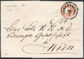 1861 5kr levélen WIESELBURG