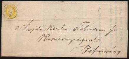1868 2kr nyomtatványon S.A. ÚJHELY