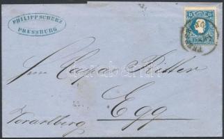 ~1860 15kr II. levélen PRESSBURG