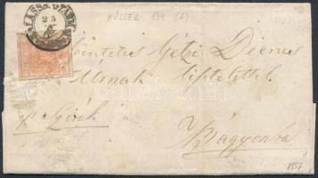 1857 3kr levélen BALASSA GYARMAT