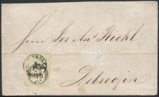 ~1855 6kr CM okmánybélyeggel bérmentesített levél előlapja MISKOLCZ - Debreczin