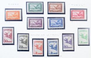 Magyar légiposta bélyegek gyűjtemény maradvány jobb kiadásokkal házi készítésű albumlapokon, Lindner gyűrűs borítóban. Magas katalógus érték!