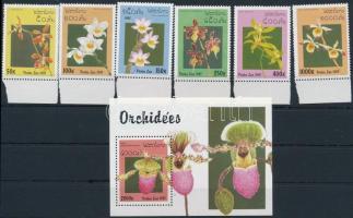Orchideák ívszéli sor + blokk Orchids margin set + block