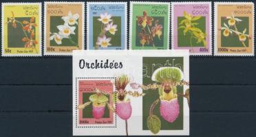 Orchideák sor + blokk Orchids margin set + block