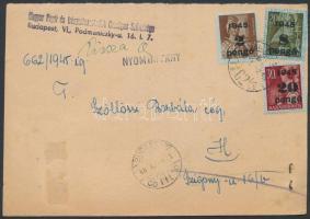 (5. díjszabás) Nyomtatvány 3 klf színű Kisegítő bélyeggel bérmentesítve, visszaküldve a feladónak;  A5-ös lap fele Inflation cover