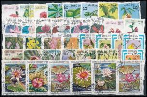 1982-1997 Virág motívum 58 klf bélyeg, közte sorok 1982-1997 Flowers 58 stamps