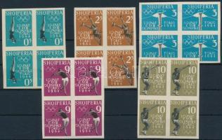 1962 Nyári olimpia 1964 vágott sor négyestömbökben Mi 657-661 B