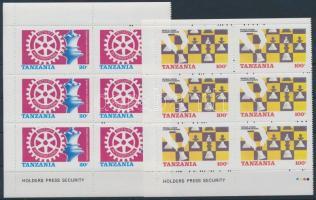 Chess and rotary blocks of 6, Sakk és rotary hatos tömbök