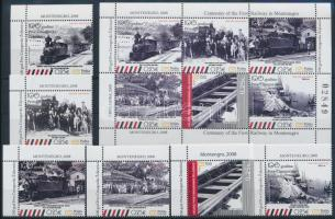 100 éves a vasút Montenegróban + kisív Centenary of Railway in Montenegro + mini sheet