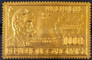 Albert Schweitzer aranyfóliás bélyeg Albert Schweitzer golden-foiled stamp