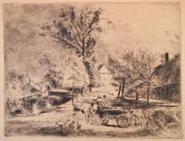 Aszódi Weil Erzsébet (1901-1976): Tata. Rézkarc, papír, jelzett, 22×26 cm
