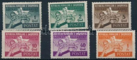 1946 Balkán játékok sor 6 értéke Mi 408-414 (hiányzik/missing Mi 412)(betapadásnyomok)