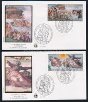 Sistine Chapel frescoes set 4 FDCs, Sixtus-kápolna freskói sor 4 db FDC-n