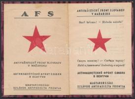1946 Bp., Magyarországi Szlávok Antifasiszta Frontja által kiadott fényképes igazolvány