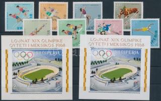 1968 Olimpia sor Mi 1306-1313 A + blokk Mi 33 A+B