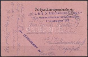 "Field postcard ""K.u.k. 5. Armeekommando Mannschaftsrekonvaleszentenstation"" + ""FP 339"" Tábori posta levelezőlap ""K.u.k. 5. Armeekommando Mannschaftsrekonvaleszentenstation"" + ""FP 339"""