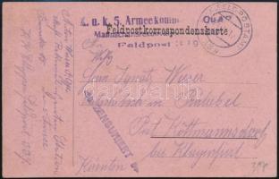 """Tábori posta levelezőlap """"K.u.k. 5. Armeekommando Mannschaftsrekonvaleszentenstation"""" + """"FP 339"""" Austria-Hungary Field Postcard """"K.u.k. 5. Armeekommando Mannschaftsrekonvaleszentenstation"""" + """"FP 339"""""""