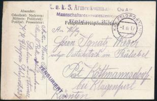 "Field postcard ""K.u.k. 5. Armeekommando Mannschaftsrekonvaleszentenstation"" + ""FP 339"", Tábori posta levelezőlap ""K.u.k. 5. Armeekommando Mannschaftsrekonvaleszentenstation"" + ""FP 339"""