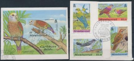 Madarak sor + blokk elsőnapi bélyegzéssel Birds set + block with first-day cancellation
